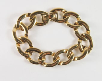 Monet Gold Tone Link Bracelet Vintage 70s Jewelry