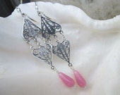 Sterling Silver and Pink Teardrop Long Chandelier Earrings