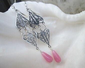 Sterling Silver and Pink Teardrop Long Chandelier Earrings