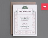 "Funny Mother's Day Card. Printable PDF. Digital, Instant Download. Sarcastic Humor. Unique. Mum, Mom, Mother. ""Special Day For Me"" (PCM11)"