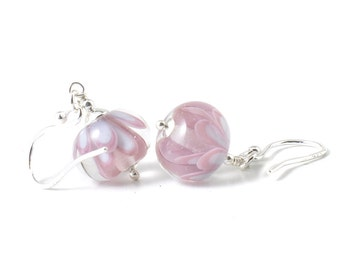 Pink Earrings  | Handmade Lampwork Glass Earrings | Pink and White Flower Earrings | Petal Collection | Pink Blossom | UK
