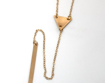 Gold Triangle Y  Necklace