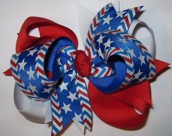 Large 4th of July STARS & STRIPES FOREVER Triple Loop Grosgrain Hair Bow in Red, White, and Bright Royal Blue