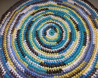 Rag Rug Round Blue White Yellow Brown Crochet 29 Inches