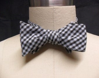 Black & White Gingham Bow Tie