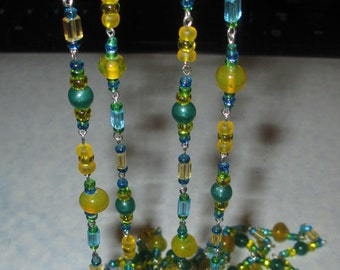 Long Colorful Fun Glass Beaded Link Necklace