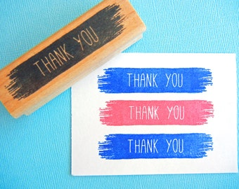 Thank You Paint Streak Splatter Rubber Stamp - Handmade by BlossomStamps