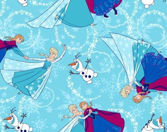 Frozen Sisters Ice Skating Toss with Silver Glitter Cotton Fabric 1 Yard IN STOCK NOW.