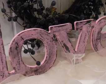 LOVE in Soft Pink ~~ Cottage Chic ~~ Shabby ~~ Distressed ~~ Wall Hanging