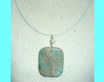 Light Aqua Agate Stone Feldspar Pendant - Special - No Shipping US