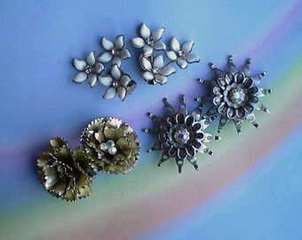 Vintage 50s Flower Rhinestone Earrings Lot 3