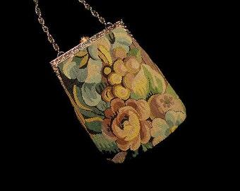 Vintage 40s Delill Floral Tapestry Purse