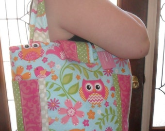 Medium Girly Owl Chevron and Stripes  with Elastic Side Pockets