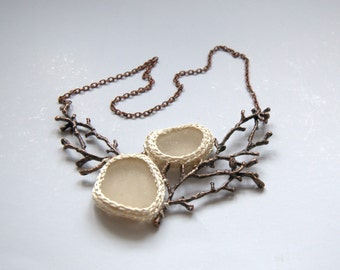 Statement necklace ivory beige sea glass twig necklace Valentine gift for her woodland jewelry crochet seaglass bronze  branch