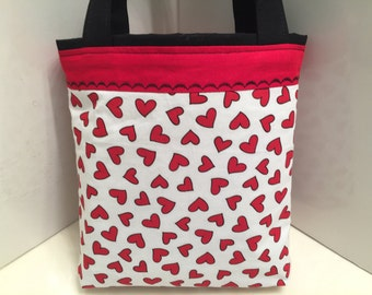 Valentine's Day, Fabric Gift Tote Bag, Gift Wrap, Wrapping Paper, Sweetheart, Love Gift Bag, Tote for Sweets, Patchwork Bag, Hearts