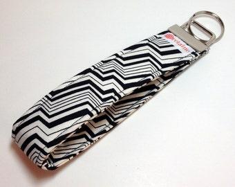 Black and white zig-zag keychain, key fob, key wristlet, key holder.