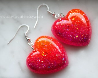 Resin Jewelry, Dangle Earrings - Sparkly Heart Jewelry, Colorful Ombre Tropical Sunset Resin Heart Shape, earrings handcrafted by isewcute