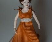 Orange striped Summer dress - wearable 12th scale miniature dollhouse fashion by CWPoppets
