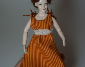 Orange striped Summer dress - wearable 12th scale miniature dollhouse fashion by CWPoppets