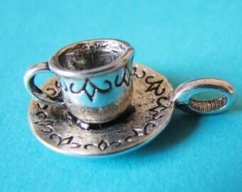 10 Tea Coffee Cup Antique Silver Tibetan Charms Pendants 26mm Mocha Bracelet