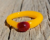 Yellow Glass Ring Size 6 1/4 Hand Sculpted
