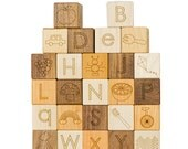 Alphabet Picture Wooden Blocks, 26 modern letters toy
