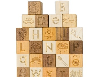 Alphabet Picture 26 Blocks Toy- Learning Toy- Developmental Toy- ABC Toys- Baby Gift- Wood Blocks- Engraved- Building Blocks- Wood Toy -BL14