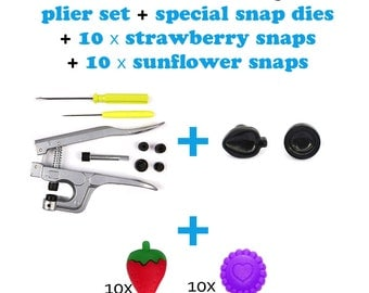 1 SPECIAL Snap Plier Set + Special Dies Pack + Strawberry Snaps + Sunflower Snaps . EXCLUSIVE KAM snaps pack