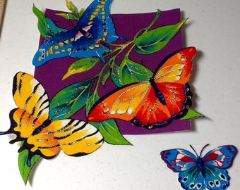 Tropical Butterfly Appliqué Iron On from VIP Fabric. Red yellow green blue