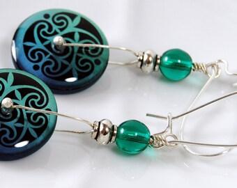 Teal and cobalt three leaf earrings, round dangle earrings, resin earrings, trendy earrings , gifts under 20