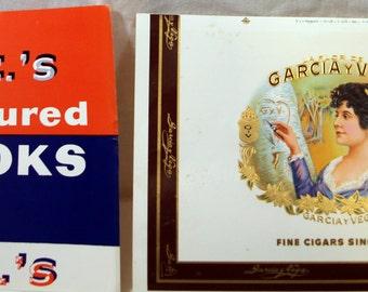 Pair of Cigar Box Labels Garcia Y Vega and F.C.C.'s Rum Cured Crooks