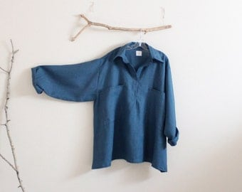 plus size linen shirt  with over size pockets made to order