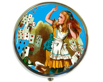 Pill Box Case Alice in Wonderland Cards Silver Stash