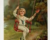 Heartiest Congratulations Postcard - Boy Swings - 1912