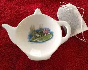 Ceramic Teabag with frog with a Lotus Flower on a Lily Pad 5' Long