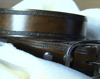 Handmade Custom Leather Belt with Celtic Stamped Border and choice of colour buckle