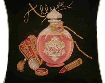 Allure Perfume and Lipstick Metallic Tapestry Cushion Cover Sham