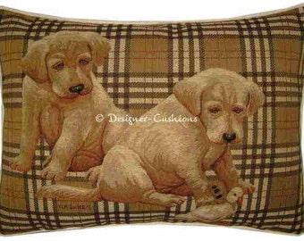 Labrador Puppies Check Oblong Tapestry Cushion Pillow Cover