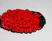 Vintage 1930s Molded Celluloid Dress Clip Red And Black Celluloid Marked Japan