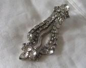 VINTAGE Dangle Rhinestone Carnegie Costume Jewelry Earring as is