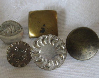 Lot of 5 ANTIQUE Flat Metal & Pewter BUTTONS