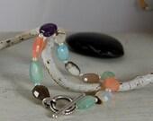 Pretty Gemstone Bracelet Colorful Quartz Sterling Silver