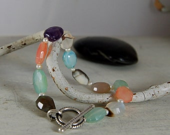 Pretty Gemstone Bracelet Colorful Quartz Sterling Silver