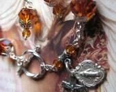 Swarovski Rosary Bracelet Sterling Silver Madeira Topaz AB Handmade in The USA Bonus