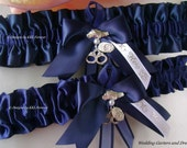 Police Officer Wedding Garters Handmade Navy Blue Garters