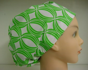 Womens Hybrid Style Surgical Scrub Hat Chemo Chef Cap Green White Orbitals