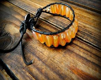 Orange Marmalade, Western Cowgirl Southwestern Boho Orange Agate Leather Wrap Button Bracelet