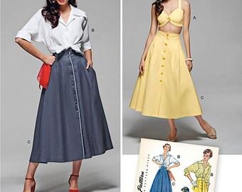 Vintage 1950's Skirt, Blouse, Bra Top Simplicity 1166 Size 16-24