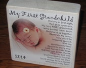 First Grandchild Poem for GRANDMA- PERSONALIZED Larger Photo Poem Blocks