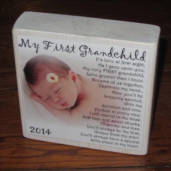First Grandchild Poem for GRANDMA- PERSONALIZED Larger Photo Poem Blocks